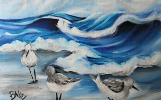 "Three Shore Birds 11x14"" Acrylic on Canvas by Barbara Noel"