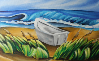 "Dory Boat on Beach 16x20"" Acrylic on Canvas by Barbara Noel"