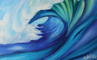 "Small Wave 11x14"" Acrylic on Canvas by Barbara Noel"