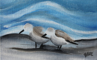 Mini Peep Duo - Peep No. 1 4x6 Acrylic on Canvas by Barbara Noel