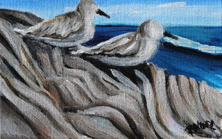 Mini Barbados Peep Duo - Peep No. 1 4x6 Acrylic on Canvas by Barbara Noel