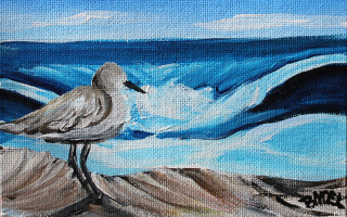 Mini Barbados Peep Duo - Peep No. 2 4x6 Acrylic on Canvas by Barbara Noel