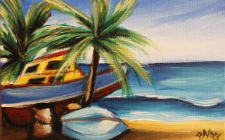 Mini Marvin's Boats 5x7 Acrylic on Canvas by Barbara Noel