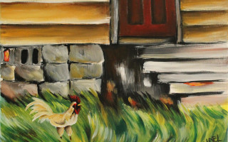 Bajan Yardbird 11x14 Acrylic on Canvas by Barbara Noel