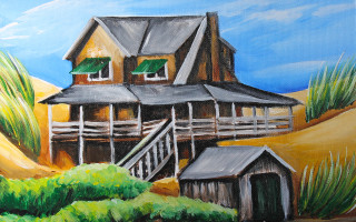 Nags Head Cottage with Shed 11x14 Acrylic on Canvas by Barbara Noel