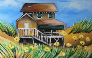 Nags Head Cottage & Yellow Flowers 11x14 Acrylic on Canvas by Barbara Noel