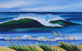 OBX Surfrider Waves & Sea Oats by Barbara Noel - Raffle Benefit Print Only