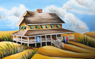 Nags Head Cottage & Surfboards 16x20 Acrylic on Canvas by Barbara Noel