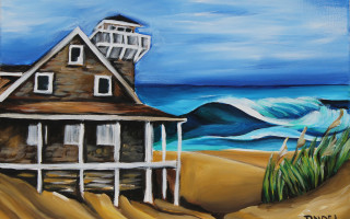Oregon Inlet Life Saving Station 11x14 Acrylic on Canvas by Barbara Noel