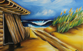 Rasta Amor's Beach Access 11x14 Acrylic on Canvas by Barbara Noel