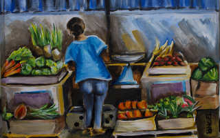 Fresh Produce In Speightstown Cigar Box Treasure Painting by Barbara Noel