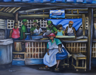 "Oistens Fish Market 20"" by 16"" Painting by Barbara Noel"